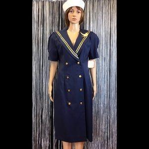 Vintage NWT Leslie Fay Navy & Gold Sailor Dress